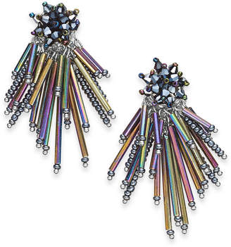 INC International Concepts I.n.c. Silver-Tone Iridescent Bead Cluster Drop Earrings