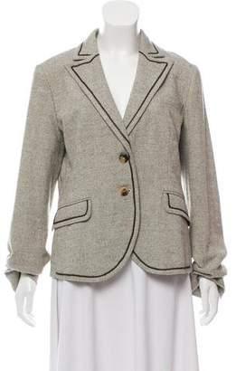 Etro Vegan Leather-Trimmed Tweed Blazer