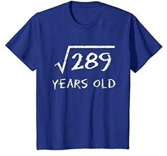 Square Root of 289: 17th Birthday 17 Years Old T-Shirt