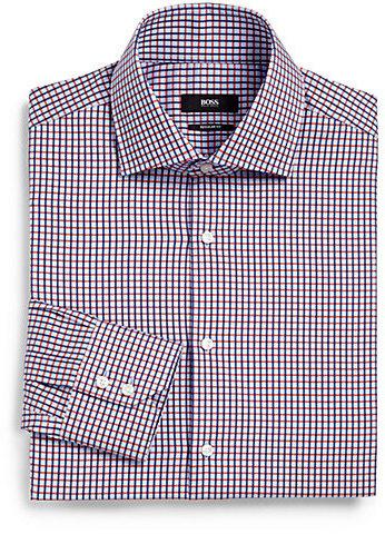 HUGO BOSS Sharp-Fit Check Dress Shirt