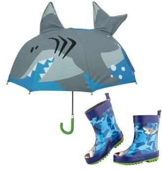 Stephen Joseph Shark Rain Boots & Umbrella Set