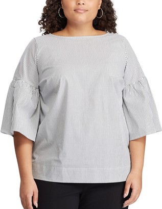 Chaps Plus Size Pinstripe Bell Sleeve Blouse