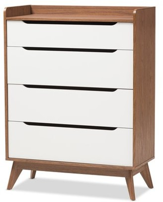 Mid-Century MODERN Baxton Studios Baxton Studio Brighton White and Walnut Wood 4-Drawer Storage Chest