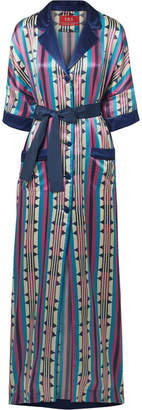 F.R.S For Restless Sleepers - Eurinome Belted Printed Cotton And Silk-blend Maxi Dress - Navy