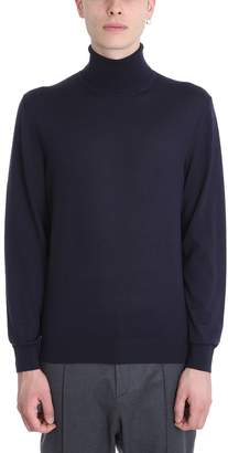 Ermenegildo Zegna Blue Wool Turtle Neck Sweater