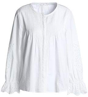 Joie Pintucked Broderie Anglaise Cotton Blouse