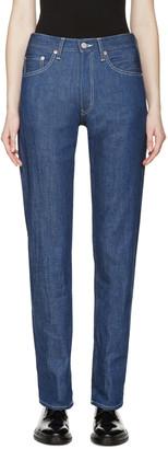 Yohji Yamamoto Blue High-Rise Jeans $770 thestylecure.com