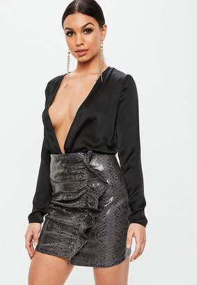 Missguided Black Faux Leather Snake Ruffle Mini Skirt