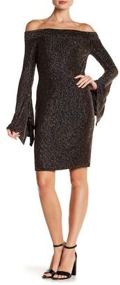 BCBGMAXAZRIA Metallic Striped Off-the-Shoulder Dress