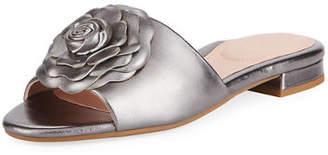 Taryn Rose Violet Flat Floral Metallic Leather Slide Sandal