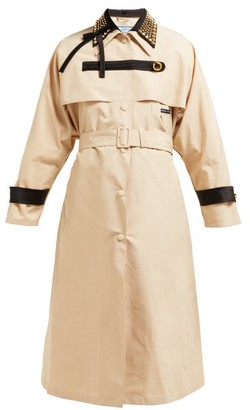 Prada Stud Embellished Cotton Blend Trench Coat - Womens - Beige Multi