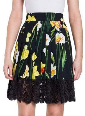 Dolce & Gabbana Lace Hem Floral Skirt