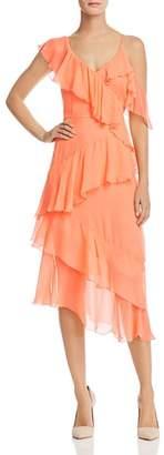 Alice + Olivia Olympia Asymmetric Ruffled Silk Dress