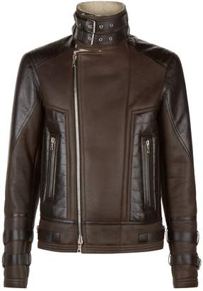 Balmain Leather Shearling Biker Jacket