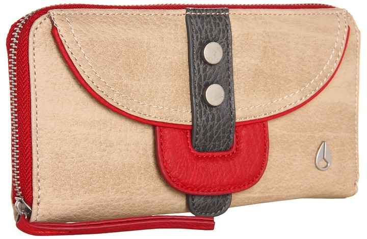 Nixon Deed Wallet (Khaki/Dark Red) - Bags and Luggage