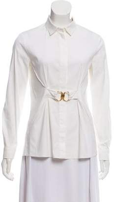 Gucci Buckle-Accented Button-Up Blouse