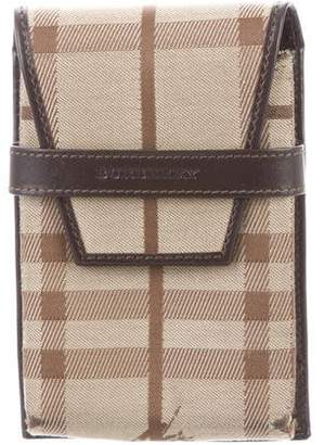 Burberry Haymarket Leather-Trimmed Phone Case