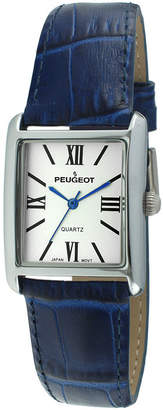 Peugeot Womens Square Blue Leather Strap Watch 3036BL