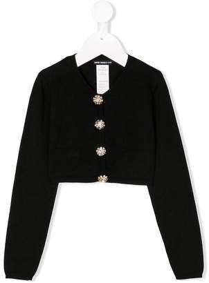 David Charles Kids crystal buttons cropped cardigan