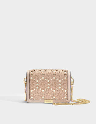 MICHAEL Michael Kors Jade Medium Gusset Clutch in Soft Pink Flower Embroidered Smooth Vegetable Leather