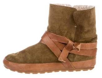 Isabel Marant Suede Round-Toe Ankle Boots Brown Suede Round-Toe Ankle Boots