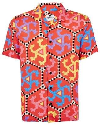 Topman Mens Red Printed Short Sleeve Shirt