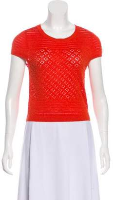 Alice + Olivia Beaded Short Sleeve Top
