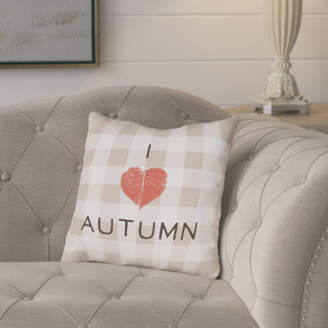 August Grove I Heart Autumn Plaid Throw Pillow