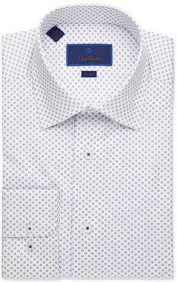 David Donahue Men's Trim-Fit Floral-Pattern Dress Shirt