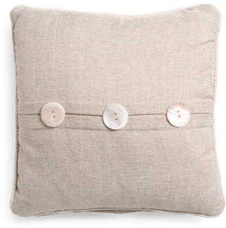 20x20 Linen Look Pillow With Rope Trim