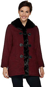Nobrand NO BRAND Dennis Basso Toggle Front Tweed Coat with FauxFur Trim