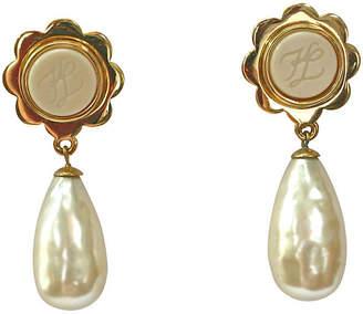 One Kings Lane Vintage Karl Lagerfeld Gold Pearl Drop Earrings - Wisteria Antiques Etca