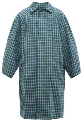 Balenciaga Checked Wool Twill Overcoat - Mens - Blue