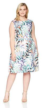 Adrianna Papell Women's Plus Watercolor Leaves Printed FIT and Flare Dress