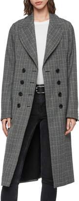 AllSaints Blair Check Wool Blend Coat