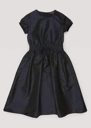 Emporio Armani Dress In Jacquard Polka Dot Taffeta With Puff Sleeves