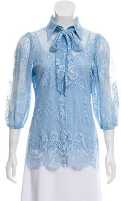 Anne Fontaine Eyelet Long Sleeve Blouse