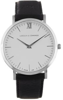 Larsson & Jennings Lugano Stainless Steel And Leather Watch - Mens - Black White