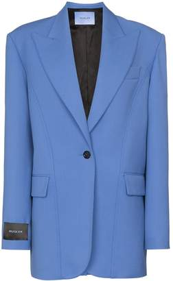 Thierry Mugler logo-patch oversized blazer