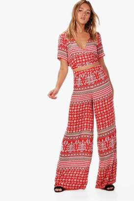 boohoo Rosie Woven Boarder Crop and Culotte Co-ord