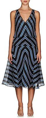 Fendi WOMEN'S STRIPED SILK ORGANZA OVERLAY DRESS