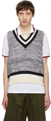 Maison Margiela White and Black Sleeveless V-Neck Pullover