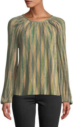 M Missoni Metallic Striped Long-Sleeve Top