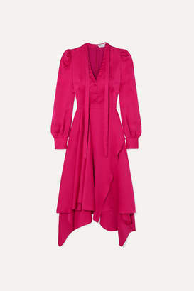 Alexander McQueen Asymmetric Silk-satin Dress - Pink