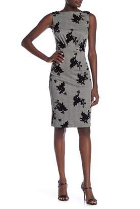ECI Sleeveless Flocking Floral Dress