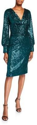 Rickie Freeman For Teri Jon Sequin Blouson-Sleeve Ruched-Waist Cocktail Dress