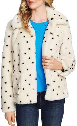 CeCe Snow Leopard Faux-Fur Jacket