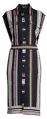 Derek Lam Women's Sleeveless Silk Belted Shirtdress
