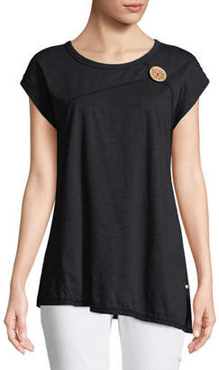 Neon Buddha Playa Slub Jersey Asymmetric Top with Coconut Button, Plus Size
