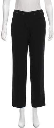 Prada Mid-Rise Leather-Trimmed Pants